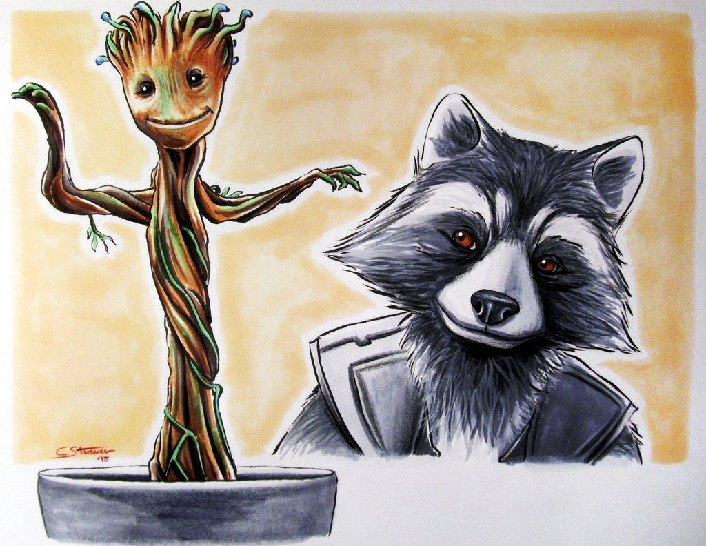 Drawn raccoon groot Groot GotG + Groot by