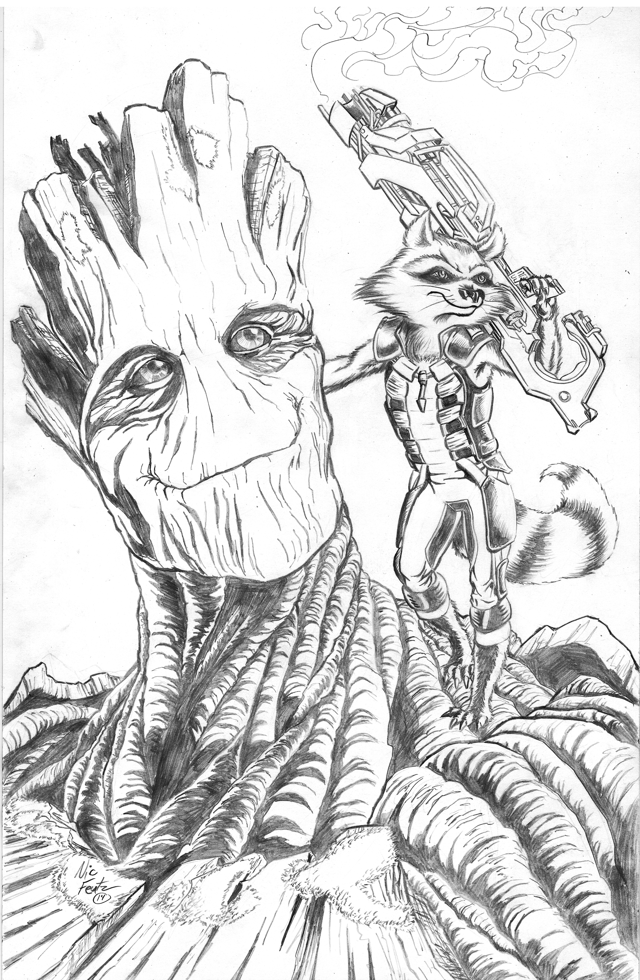 Drawn racoon groot Groot and Racoon on