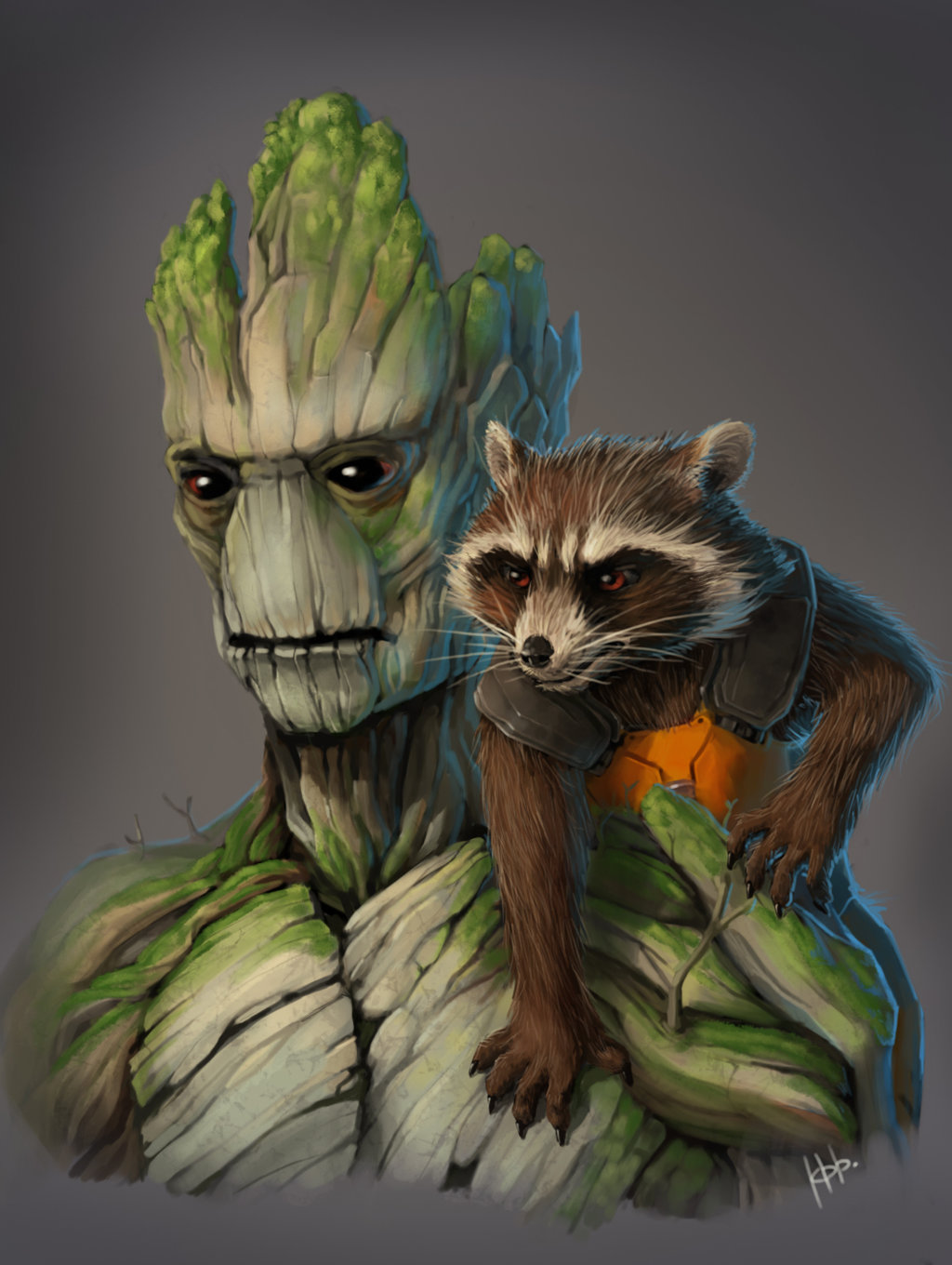Drawn raccoon groot Rocket and Racon and Rocket