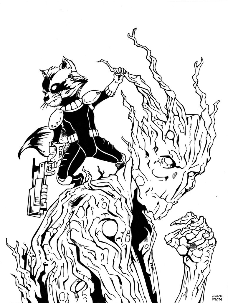 Drawn raccoon groot By Groot by Raccoon and