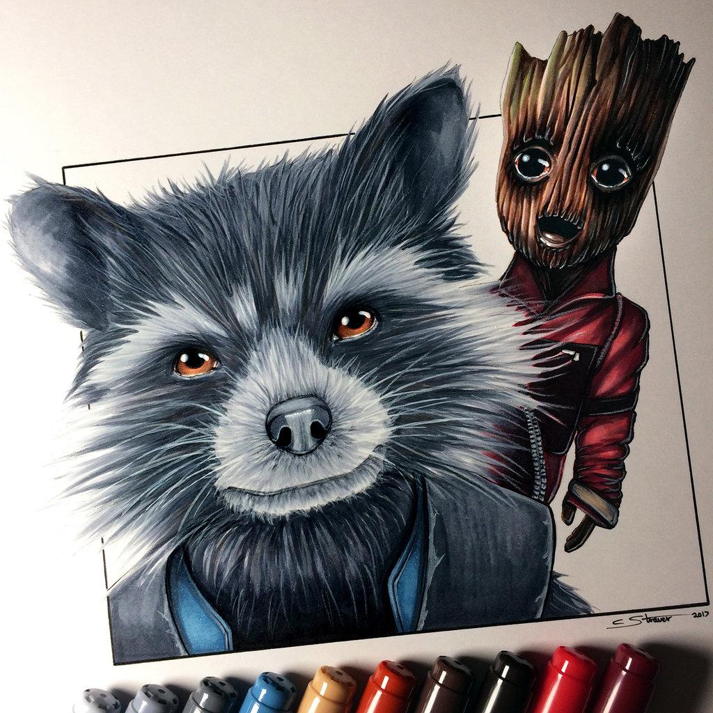 Drawn raccoon groot Baby Groot Groot Rocket Raccoon
