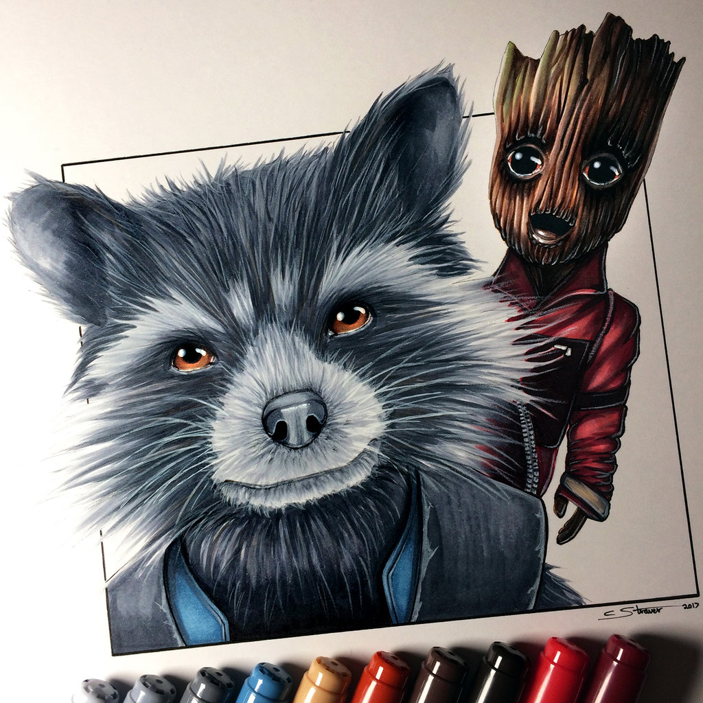 Drawn raccoon groot Baby and Groot Rocket Raccoon