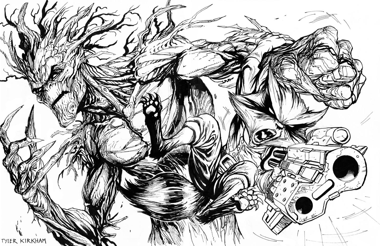 Drawn raccoon groot Rocket Groot TylerKirkham DeviantArt Raccoon