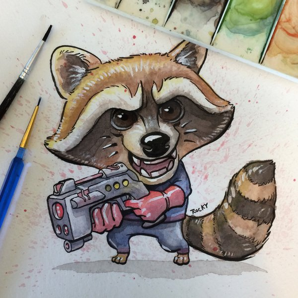 Drawn raccoon guardians the galaxy Rocky Guardians Rocket the The