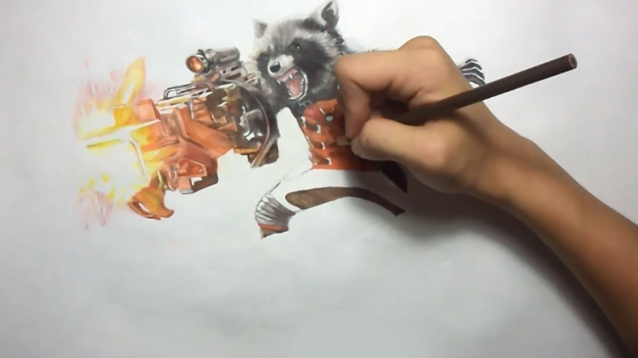 Drawn raccoon guardians the galaxy YouTube the and Galaxy of