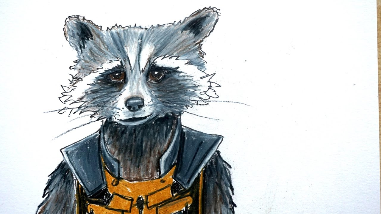 Drawn raccoon guardians the galaxy Guardians with the from Rocket