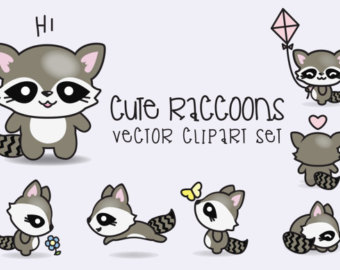 Drawn raccoon kawaii Kawaii Clipart Raccoon Raccoons Set