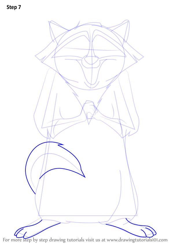 Drawn racoon meeko Step by Step Draw Step