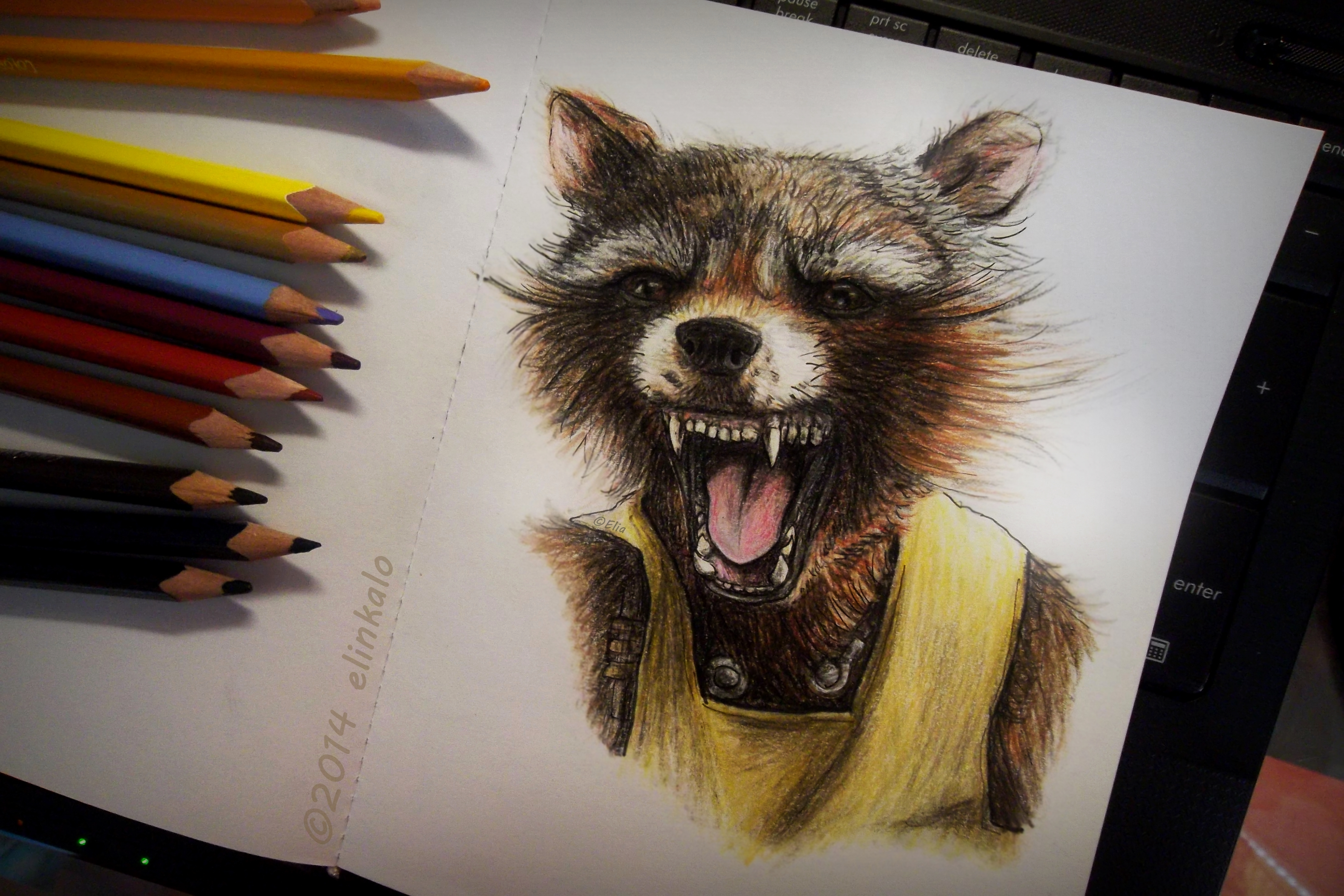 Drawn racoon rocket By Rocket by Raccoon on