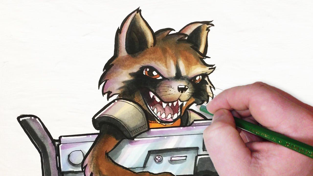 Drawn racoon rocket YouTube Let's Rocket Draw Raccoon!