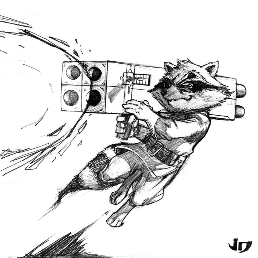 Drawn raccoon rocket DSC arsenalgearxx DeviantArt Rocket arsenalgearxx
