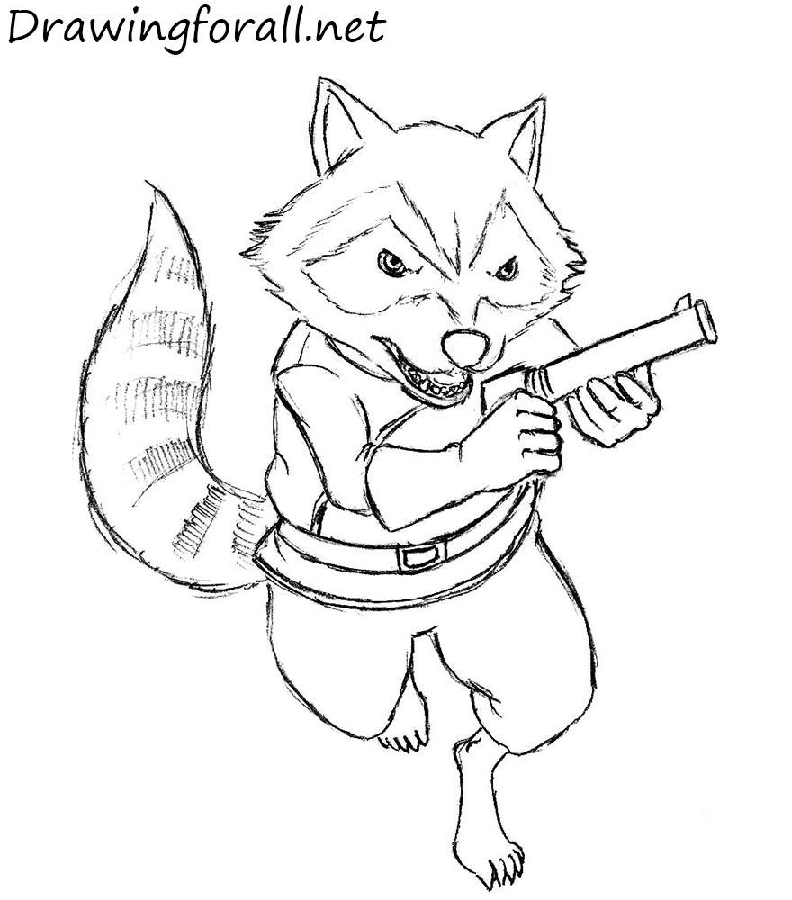 Drawn raccoon rocket How Raccoon net Rocket How