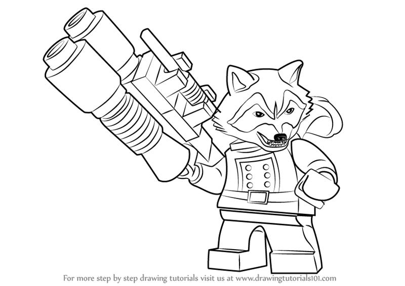 Drawn racoon rocket Rocket  by Step :
