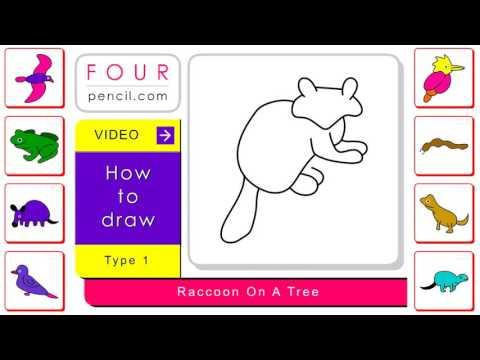 Drawn racoon tree drawing How 2166 kids step draw