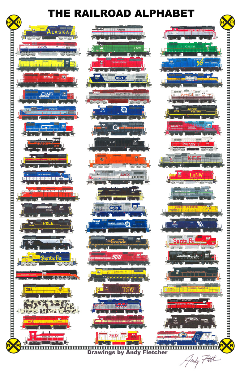 Drawn railroad andy fletcher Real locomotives Trains poster in