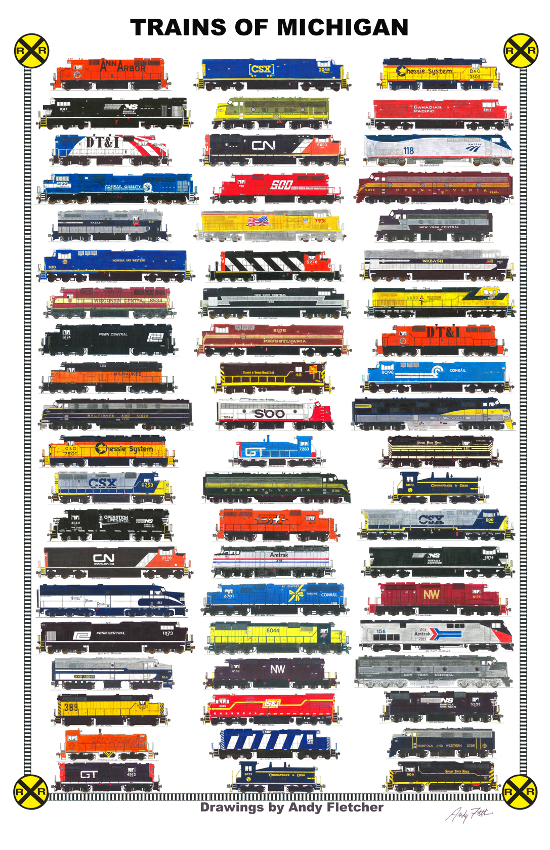 Drawn railroad andy fletcher Past of and Trains Michigan