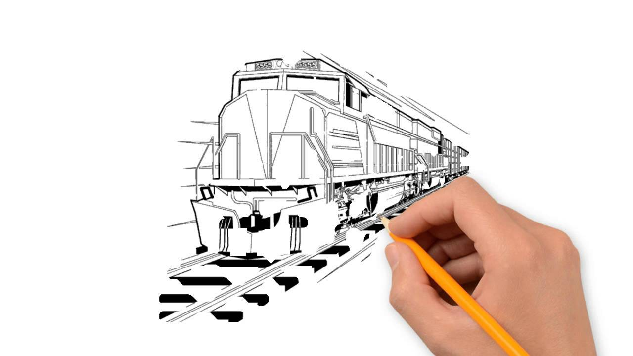 Drawn railroad bullat Train draw to pencil transport