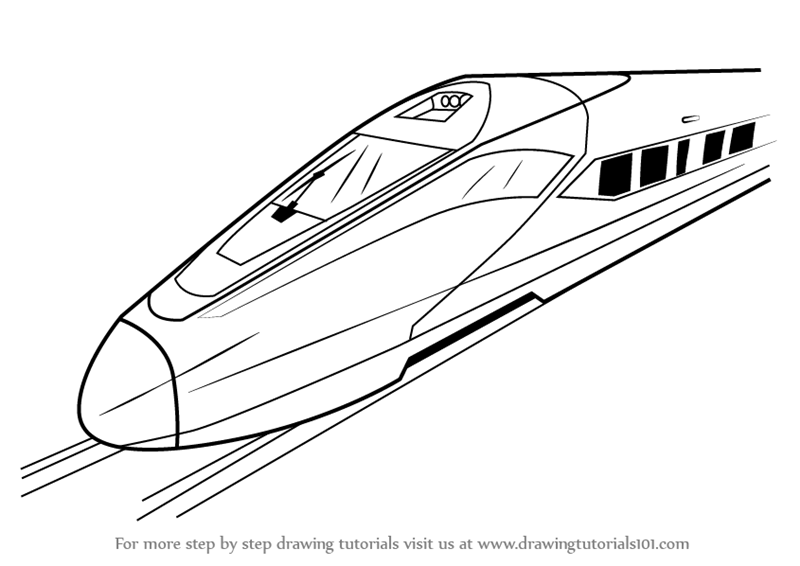 Drawn railroad bullet train Electric Train Speed High a