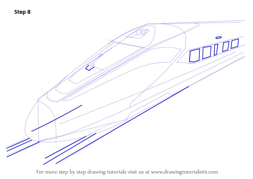 Drawn railroad bullet train A Draw to Step Draw