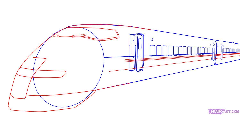 Drawn railroad bullet train Step Step train bullet Bullet