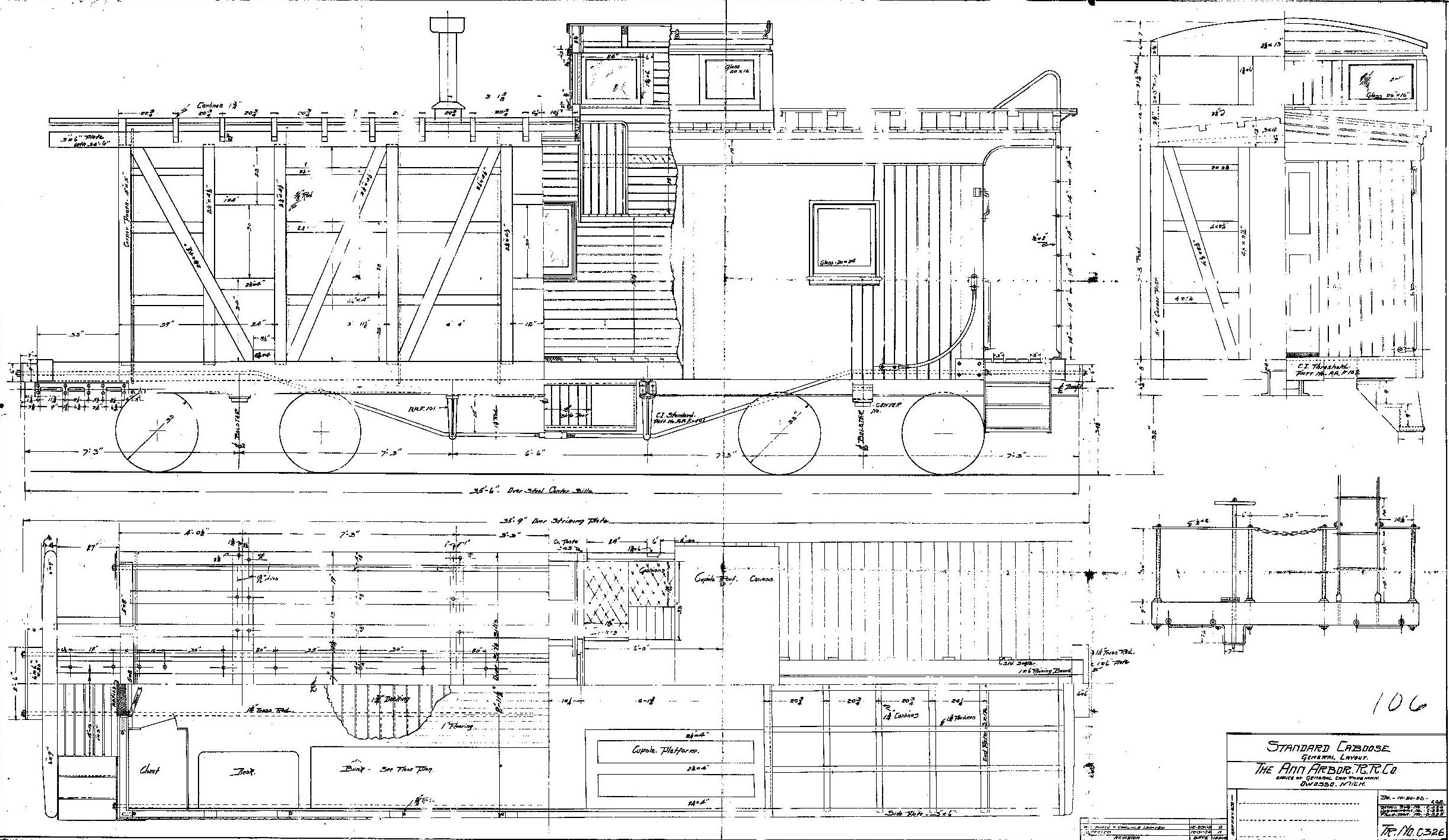 Drawn railroad caboose Construction wood caboose Drawing Cabooses