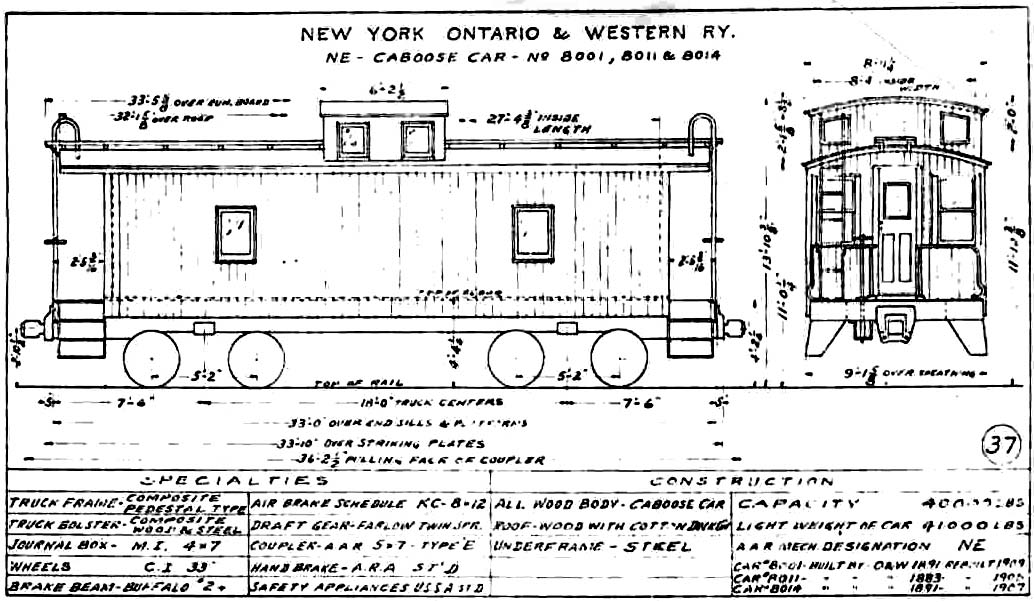 """Drawn railroad caboose 8000 """"Other"""" Cabooses Early Wheel"""