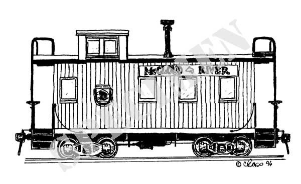 Drawn railroad caboose McCloud Drawing # mcCloudcaboose Railroad
