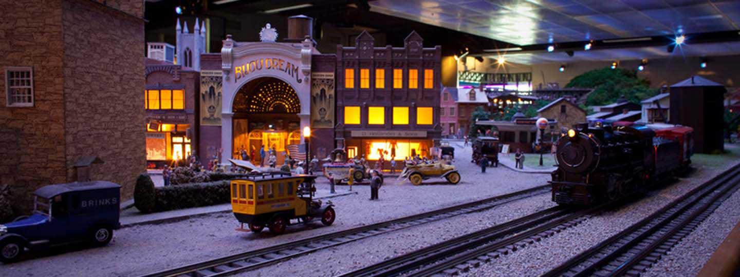 Drawn railroad christmas And Village Night & Railroad