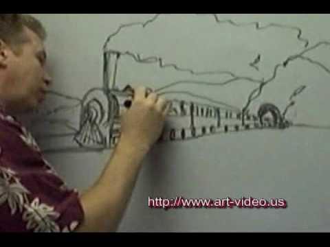 Drawn railroad color YouTube Train Drawing A Train
