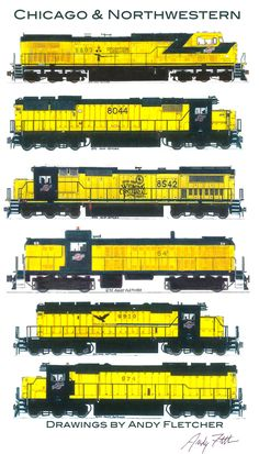 Drawn railroad color Locomotive signals Northwestern Chicago drawings