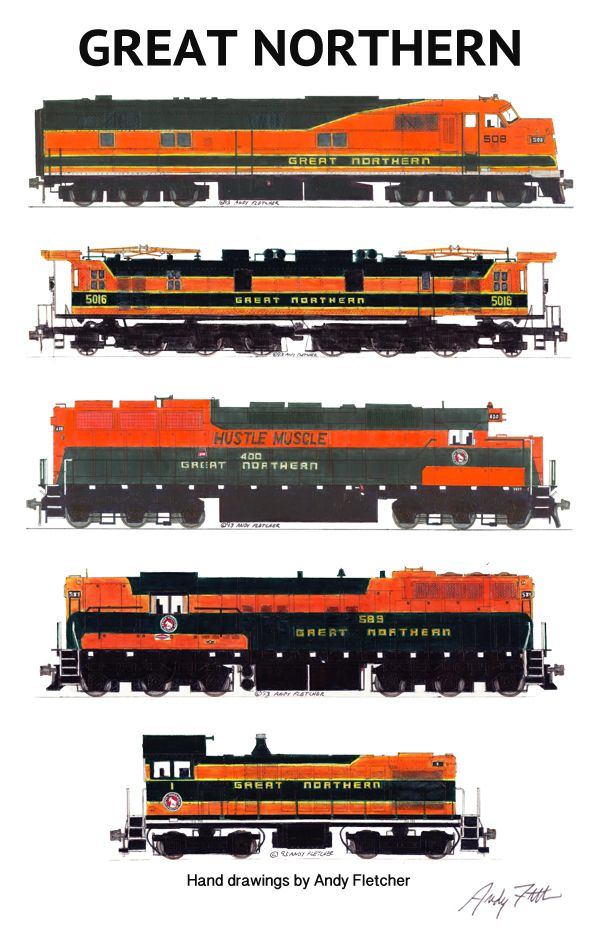 Drawn railroad color And best orange Great green