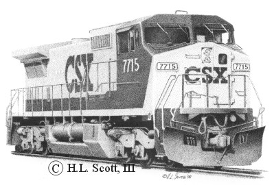 Drawn railroad csx Art #7715 CSX #7715 CSX