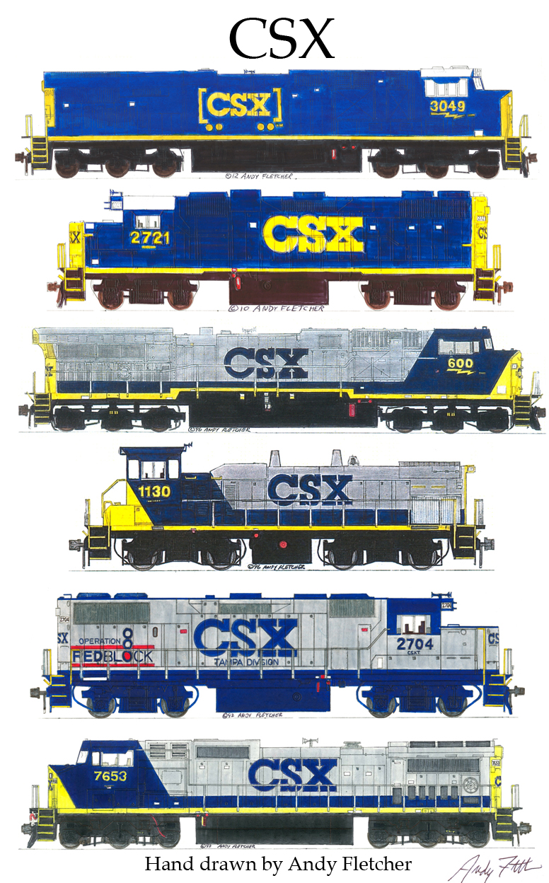 Drawn railroad csx Fletcher drawn drawings locomotive by