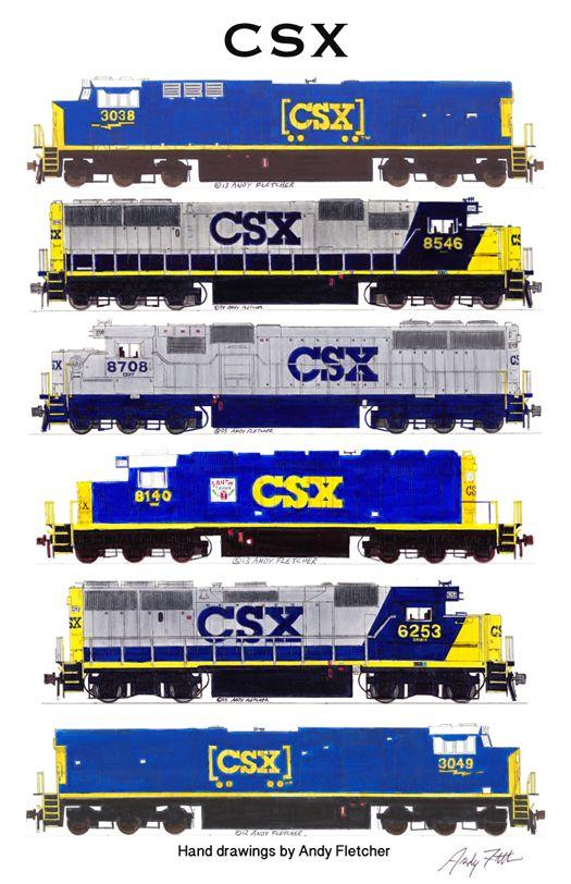 Drawn railroad csx Locomotives poster of 139 Pinterest