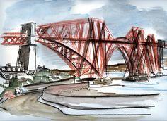 Drawn railroad draw  Railroad Drawing Iron Bridge