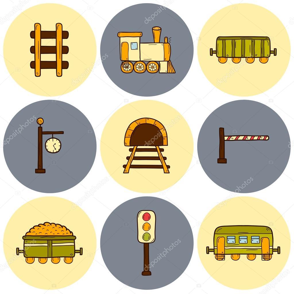 Drawn railroad illustration Set shipping railway drawn barrier