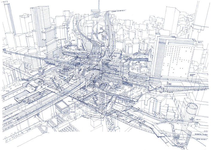 Drawn train japanese Drawing Tokyo Hand The Station</em>