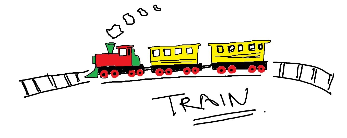 Drawn railroad kid train A cartoon train How Easy