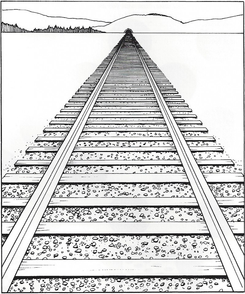 Drawn railroad linear perspective Of and the used used