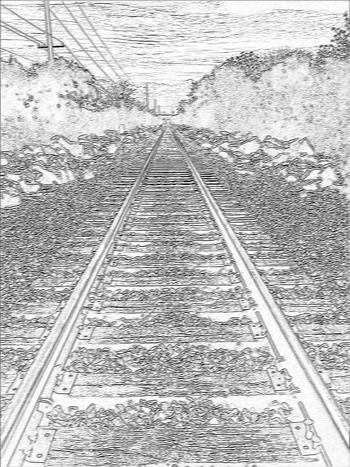 Drawn railroad linear perspective  Perspective of & Tracks