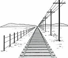 Drawn railroad linear perspective Projects Eighth draw train project