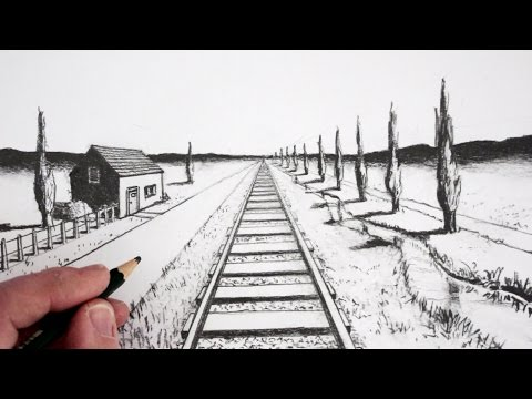 Drawn railroad linear perspective Draw How in Perspective: in