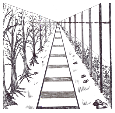 Drawn railroad linear perspective Point drawingindepth One Drawing and