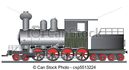 Drawn railroad locomotive Old csp5513224 style Old of
