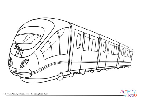 Drawn railroad means transport Colouring Colouring Page Pages Transport