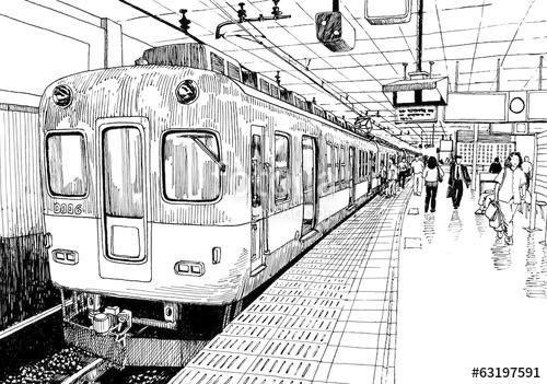 Drawn railroad metro train Sketch platform Osaka drawing