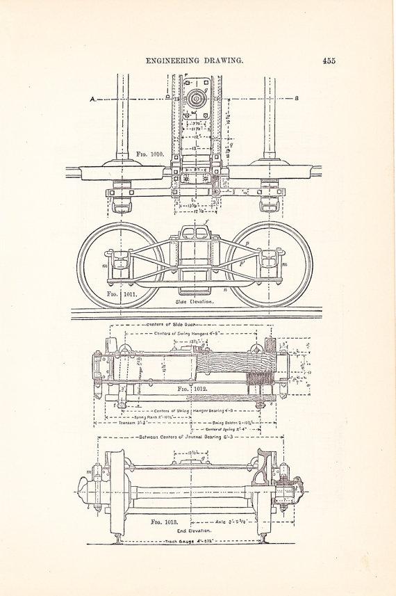 Drawn railroad plane By Antique Car 1886 Drawing
