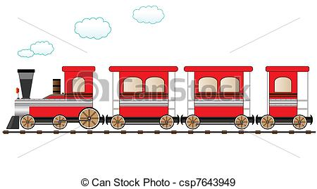 Drawn railroad red Train moving the Art Train