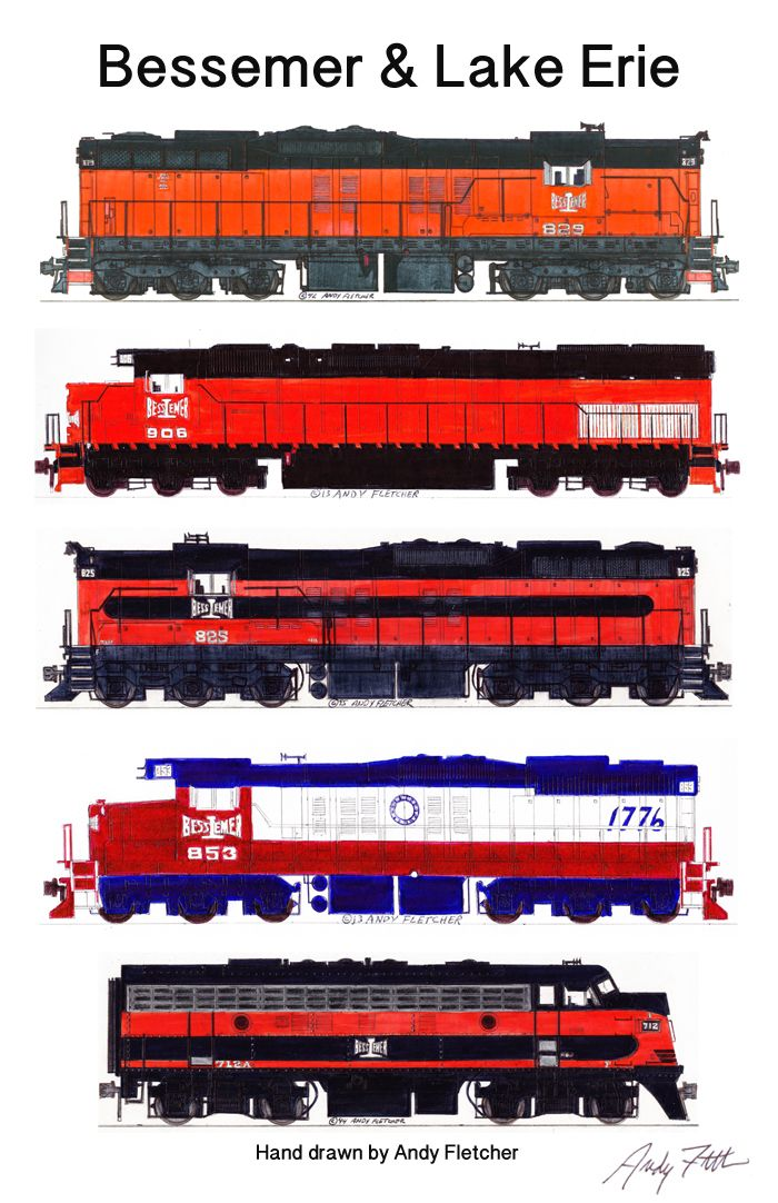 Drawn railroad red & Lake engines Trains a