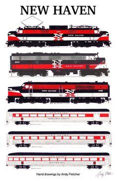 Drawn railroad red New Haven 6 locomotive drawn